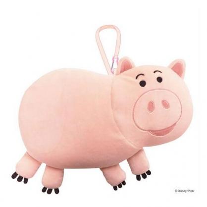 〔小禮堂〕迪士尼 玩具總動員 培根豬 可收納充氣絨毛U型頸枕《淡粉》充氣枕.午安枕