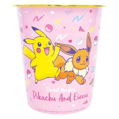 〔小禮堂〕神奇寶貝Pokemon皮卡丘 圓形無蓋垃圾桶《粉.伊布》書報桶.收納桶.置物桶