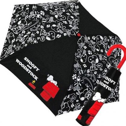 〔小禮堂〕史努比 彎把防風傘骨折疊傘《黑紅.躺屋頂》折傘.雨具.雨傘
