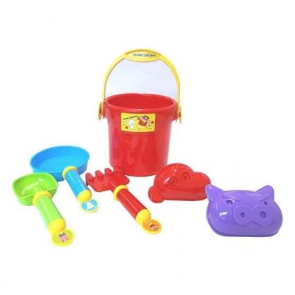 〔小禮堂〕蠟筆小新 塑膠提藍挖沙玩具組《黃紅.跳舞》鏟子.沙灘玩具.兒童玩具