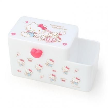 〔小禮堂〕Hello Kitty 塑膠掀蓋雙格筆筒收納盒《白.小熊》棉花盒.刷具筒