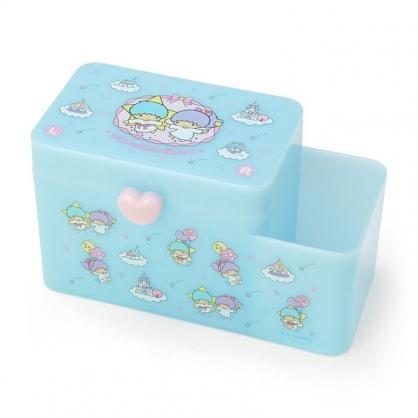 〔小禮堂〕雙子星 塑膠掀蓋雙格筆筒收納盒《藍.牽手》棉花盒.刷具筒