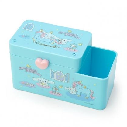 〔小禮堂〕大耳狗 塑膠掀蓋雙格筆筒收納盒《藍.獨腳獸》棉花盒.刷具筒