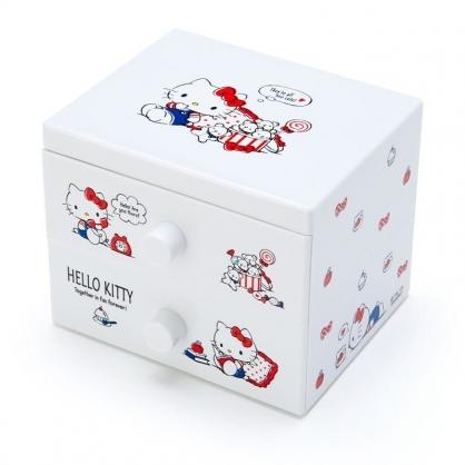 〔小禮堂〕Hello Kitty 桌上型塑膠雙抽收納盒《白.講電話》飾品盒.抽屜盒