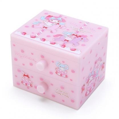〔小禮堂〕美樂蒂 桌上型塑膠雙抽收納盒《粉.旋轉木馬》飾品盒.抽屜盒