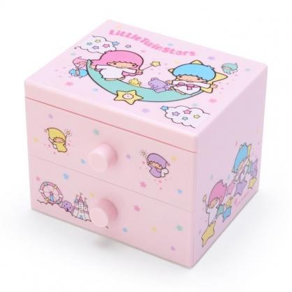 〔小禮堂〕雙子星 桌上型塑膠雙抽收納盒《粉.坐月亮》飾品盒.抽屜盒