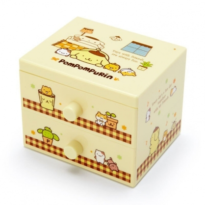 〔小禮堂〕布丁狗 桌上型塑膠雙抽收納盒《黃棕.趴姿》飾品盒.抽屜盒