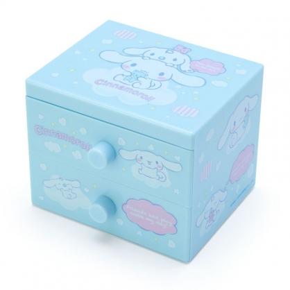 〔小禮堂〕大耳狗 桌上型塑膠雙抽收納盒《淡綠.雲朵上》飾品盒.抽屜盒