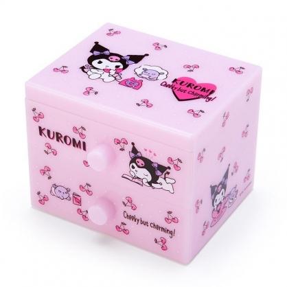 〔小禮堂〕酷洛米 桌上型塑膠雙抽收納盒《黑紫.櫻桃》飾品盒.抽屜盒