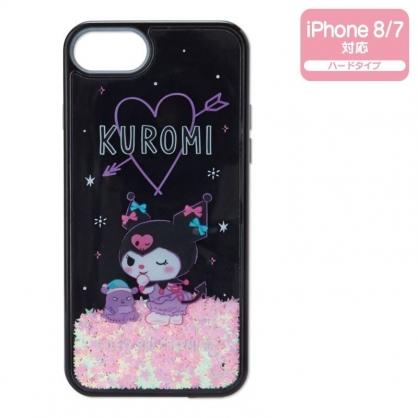 〔小禮堂〕酷洛米 IPhone 8/7 透明流沙塑膠半包式手機殼《黑紫》保護殼.裝飾殼.睡衣派對系列