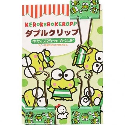 〔小禮堂〕大眼蛙 鐵製長尾夾組《3入.綠.點點》燕尾夾.夾子.銅板小物