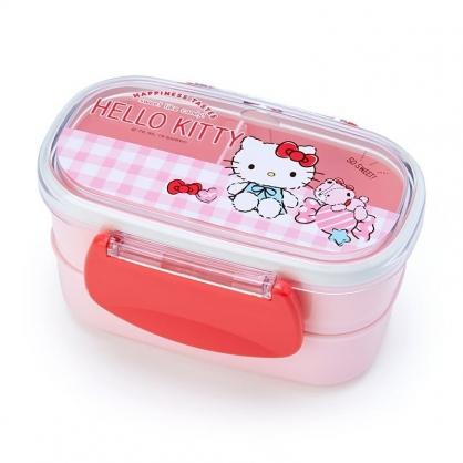 〔小禮堂〕Hello Kitty 日製塑膠雙面扣雙層便當盒《粉.格紋》保鮮盒.餐盒