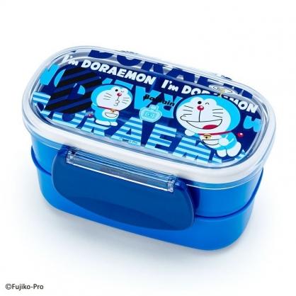 〔小禮堂〕哆啦A夢 日製塑膠雙面扣雙層便當盒《藍.文字》保鮮盒.餐盒