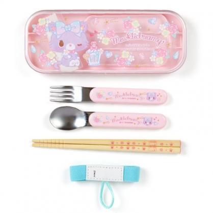 〔小禮堂〕甜夢貓 日製滑蓋三件式餐具組附束帶《粉紫.香水瓶》環保餐具.兒童餐具