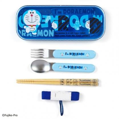 〔小禮堂〕哆啦A夢 日製滑蓋三件式餐具組附束帶《藍.文字》環保餐具.兒童餐具