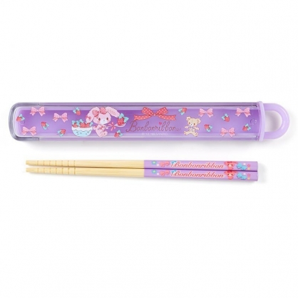 〔小禮堂〕蹦蹦兔 日製天然竹筷附盒《紫.拿草莓》16.5cm.環保餐具.兒童餐具