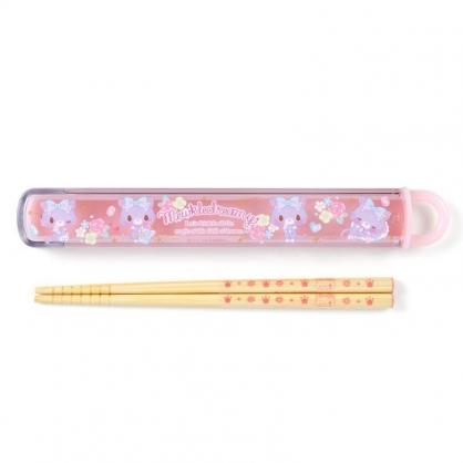 〔小禮堂〕甜夢貓 日製天然竹筷附盒《粉紫.香水瓶》16.5cm.環保餐具.兒童餐具