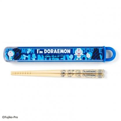 〔小禮堂〕哆啦A夢 日製天然竹筷附盒《藍.文字》16.5cm.環保餐具.兒童餐具