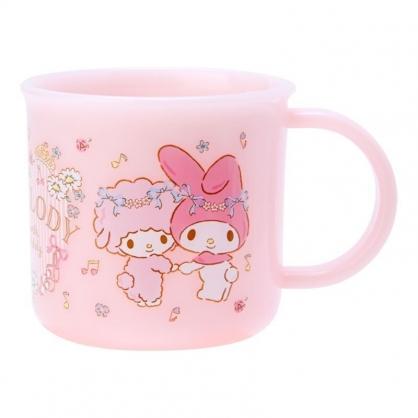 〔小禮堂〕美樂蒂 日製單耳塑膠小水杯《粉.花圈》200ml.漱口杯.茶杯