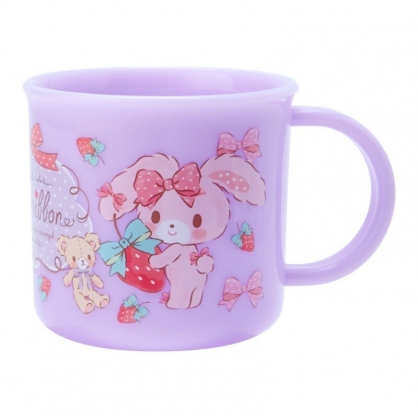 〔小禮堂〕蹦蹦兔 日製單耳塑膠小水杯《紫.抱草莓》200ml.漱口杯.茶杯