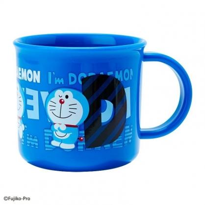 〔小禮堂〕哆啦A夢 日製單耳塑膠小水杯《藍.文字》200ml.漱口杯.茶杯