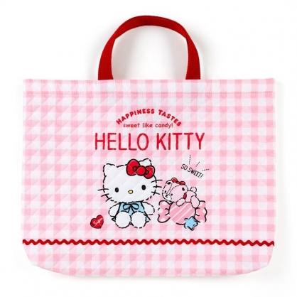 〔小禮堂〕Hello Kitty 日製橫式菱格紋厚棉手提袋《紅白.格紋》書袋.補習袋