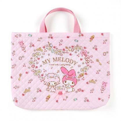 〔小禮堂〕美樂蒂 日製橫式菱格紋厚棉手提袋《粉.花圈》書袋.補習袋