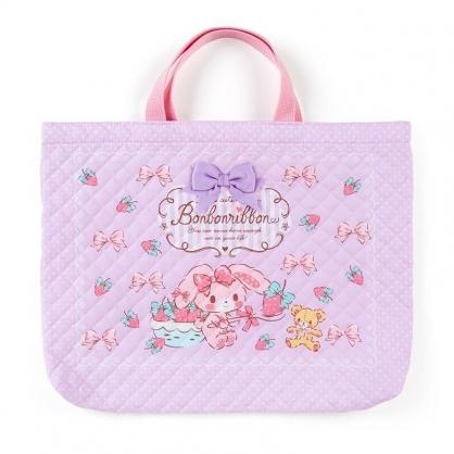 〔小禮堂〕蹦蹦兔 日製橫式菱格紋厚棉手提袋《紫.拿草莓》書袋.補習袋
