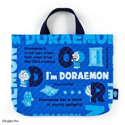 〔小禮堂〕哆啦A夢 日製橫式菱格紋厚棉手提袋《藍.文字》書袋.補習袋