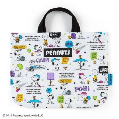 〔小禮堂〕史努比 日製橫式菱格紋厚棉手提袋《白綠紫.對話框》書袋.補習袋