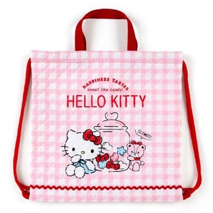 〔小禮堂〕Hello Kitty 日製菱格紋厚棉束口後背袋《紅白.格紋》手提袋.肩背袋.縮口袋