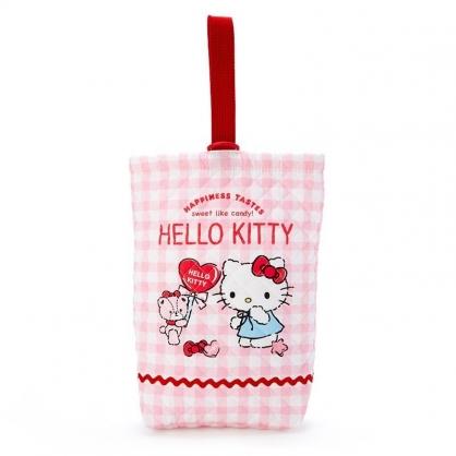 〔小禮堂〕Hello Kitty 日製菱格紋厚棉鞋袋《紅白.格紋》收納袋.手提袋