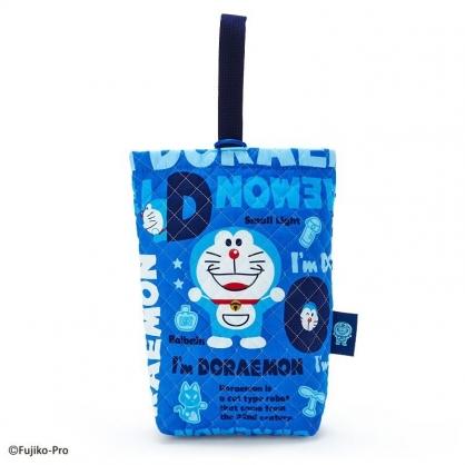 〔小禮堂〕哆啦A夢 日製菱格紋厚棉鞋袋《藍.文字》收納袋.手提袋