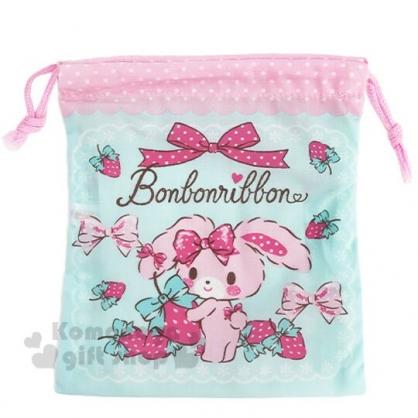 〔小禮堂〕蹦蹦兔 日製棉質束口袋《綠粉.抱草莓》16x18cm.縮口袋.收納袋