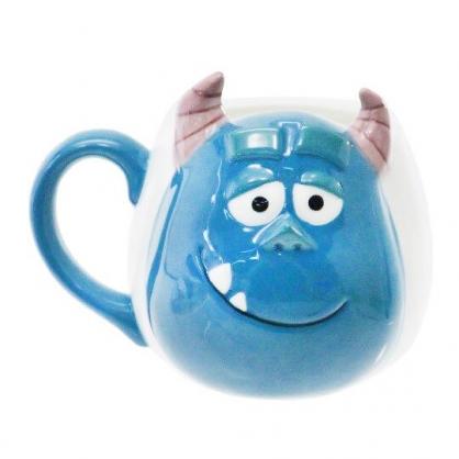 〔小禮堂〕迪士尼 怪獸大學 毛怪 造型陶瓷馬克杯《綠白.大臉》350ml.咖啡杯.茶杯