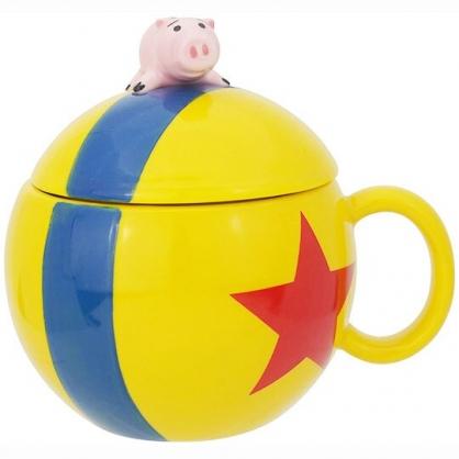 〔小禮堂〕迪士尼 玩具總動員 培根豬 造型陶瓷馬克杯附蓋《黃藍.趴姿》180ml.咖啡杯.茶杯