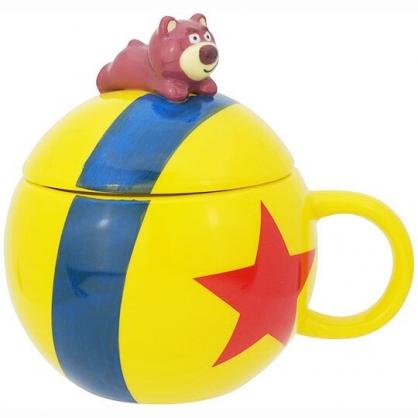 〔小禮堂〕迪士尼 玩具總動員 熊抱哥 造型陶瓷馬克杯附蓋《黃藍.趴姿》180ml.咖啡杯.茶杯