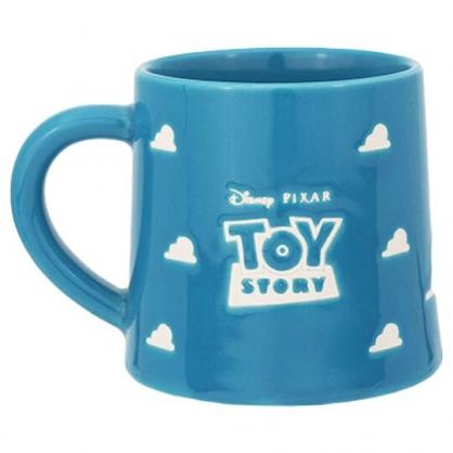 〔小禮堂〕迪士尼 玩具總動員 日製陶瓷馬克杯《藍白.雲朵》300ml.咖啡杯.茶杯