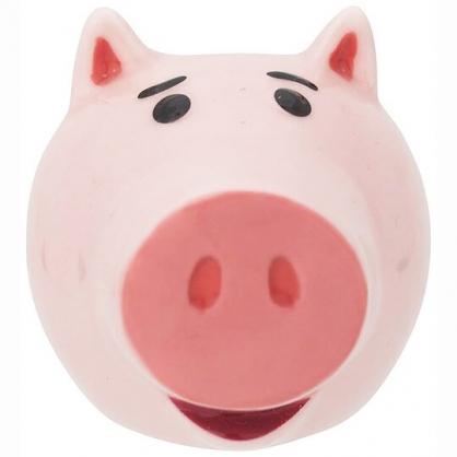 〔小禮堂〕迪士尼 玩具總動員 培根豬 迷你造型陶瓷牙刷架《粉.大臉》筆架.置物架