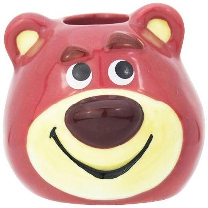 〔小禮堂〕迪士尼 玩具總動員 熊抱哥 迷你造型陶瓷牙刷架《桃.大臉》筆架.置物架