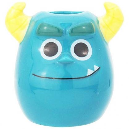 〔小禮堂〕迪士尼 怪獸大學 毛怪 迷你造型陶瓷牙刷架《藍.大臉》筆架.置物架