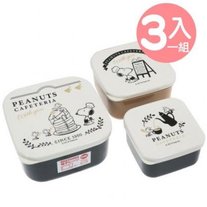 〔小禮堂〕史努比 日製方形塑膠保鮮盒組《3入.米黑.鬆餅》便當盒.食物盒.餐盒