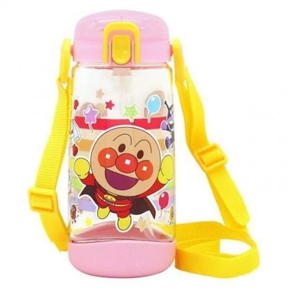 〔小禮堂〕麵包超人 透明彈蓋吸管水壺附背帶《粉黃.橫條》450ml.水瓶.兒童水壺