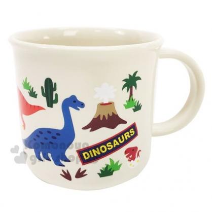 〔小禮堂〕恐龍 日製單耳塑膠小水杯《米.火山》200ml.漱口杯.茶杯