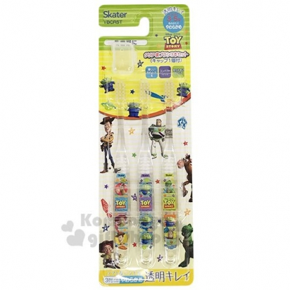 〔小禮堂〕迪士尼 玩具總動員 透明兒童牙刷組附牙刷蓋《3入.黃綠.橫條》3-5歲適用.學童牙刷