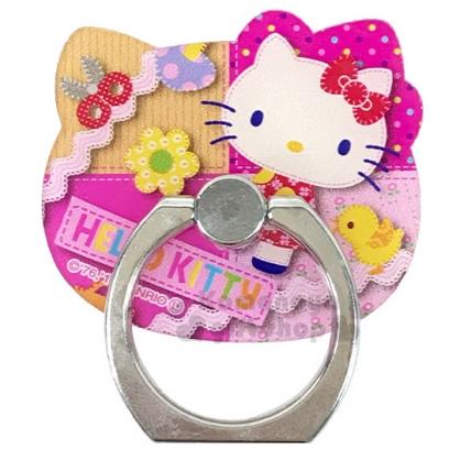 〔小禮堂〕Hello Kitty 大臉造型壓克力手機指環架《桃.拼接》手機立架.指環扣