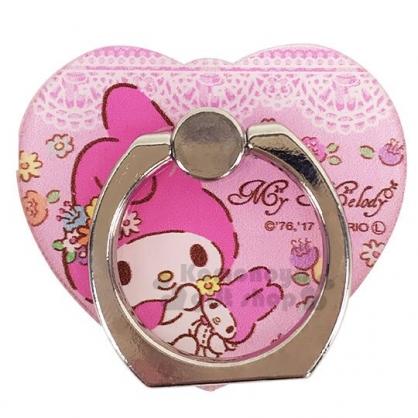 〔小禮堂〕美樂蒂 愛心造型壓克力手機指環架《粉.花朵》手機立架.指環扣