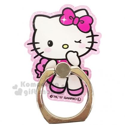 〔小禮堂〕Hello Kitty 造型壓克力手機指環架《粉.眨眼》手機立架.指環扣