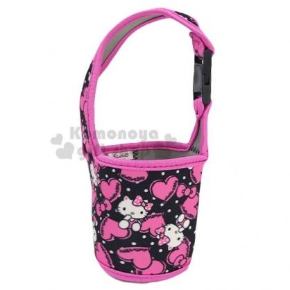 〔小禮堂〕Hello Kitty 潛水布飲料杯套《黑桃.愛心滿版》手搖杯套.環保杯套.水壺袋