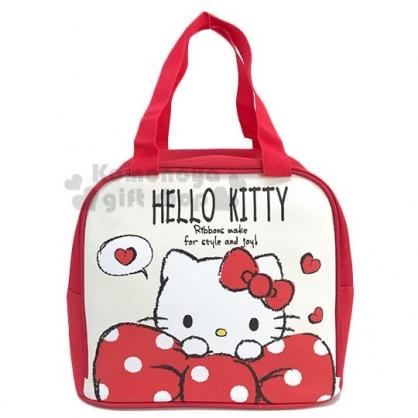 〔小禮堂〕Hello Kitty 皮質保冷手提便當袋《米紅.趴蝴蝶結》手提袋.野餐袋